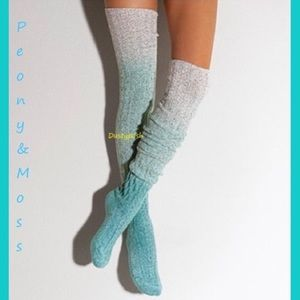 Peony & Moss Marled Thigh High Socks Dip Dye Blue